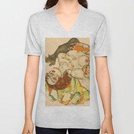"""Egon Schiele """"Female Lovers"""" Unisex V-Neck"""