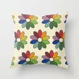 Flower pattern based on James Ward's Chromatic Circle Throw Pillow