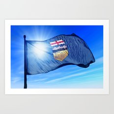 Alberta (Canada) flag waving on the wind Art Print