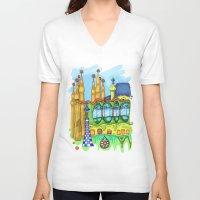 barcelona V-neck T-shirts featuring Barcelona by Aleksandra Jevtovic
