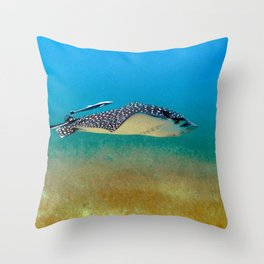 Watercolor Ray, Spotted Eagle Ray 31, St John, USVI Throw Pillow