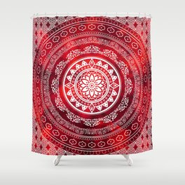 U0027Scarlet Destinyu0027 Red U0026 White Flower Of Life Boho Mandala Design Shower  Curtain
