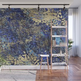 Blue Gold Animal Print Wall Mural