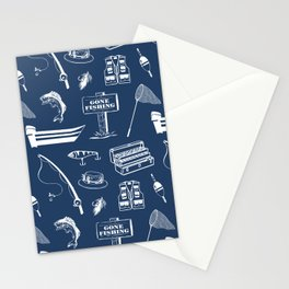 Gone Fishing // Navy Blue Stationery Cards
