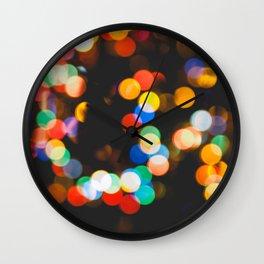 Christmas lights bokeh Wall Clock