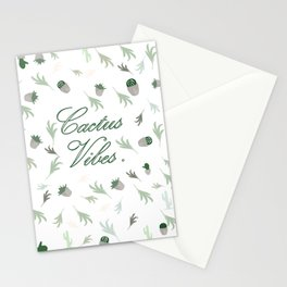 Cactus vibes green white pattern cacti-leaves tropical desert decor buyart  ,  society6 Stationery Cards