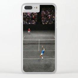 Nadal serving against Isner Clear iPhone Case