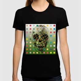 Op Art Skull With Multi-coloured Dots T-shirt