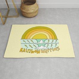 rainbow warriors // retro surf art by surfy birdy Rug