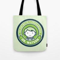 john green Tote Bags featuring Cute John Watson - Green by mydeardear