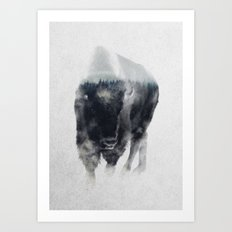 Bison In Mist Art Print