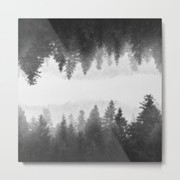 Black and white foggy mirrored forest Metal Print