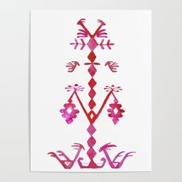 Ethnic Kilim Pattern Tree of Life Poster
