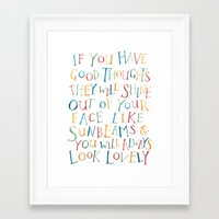roald dahl Framed Art Prints featuring Roald Dahl Quote For Kids Sunbeams Quote Nursery Art Inspirational Quote by FeatherandSixpence