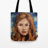 amy pond Tote Bags featuring Amy Pond Vincent van Gogh Doctor Who by SachsIllustration