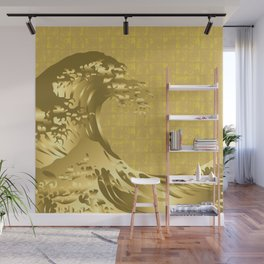 Gold Hokusai Great Wave on the Gold-leaf Screen Wall Mural