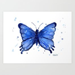Butterfly Blue Watercolor Animal Painting Art Print