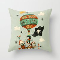 Throw Pillows featuring Make Your Dreams Fly by Steve Simpson