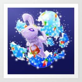 'You Cracked the Egg' Series - Easter Angelic Bunny with Premium Background Art Print