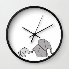 Origami Baby Elephant Wall Clock