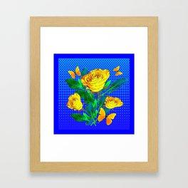 YELLOW BUTTERFLIES, ROSES, & BLUE OPTICAL ART Framed Art Print