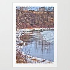 Snowy Riverbank Art Print