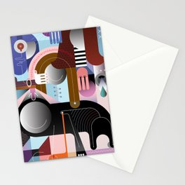 Three Persons and Black Cat Stationery Cards