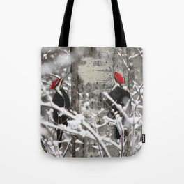 Woodpeckers in Winter Tote Bag