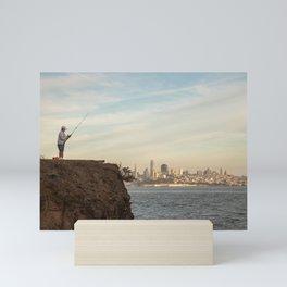 Fishing in San Francisco Photography, Sunset in SF, Sausalito view of San Francisco Mini Art Print