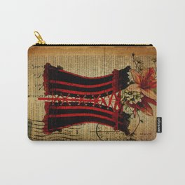 elegant girly newspaper print sexy black red corset vintage paris eiffel tower art Carry-All Pouch