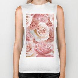 Soft Pink Roses Biker Tank
