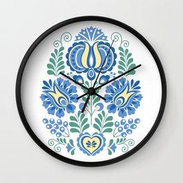 Moravian Folk Design Blue Wall Clock