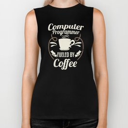 Computer Programmer Fueled By Coffee Biker Tank