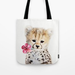 Baby Cheetah with Tropical Flower Tote Bag