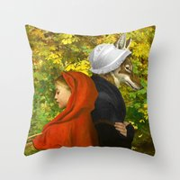 red hood Throw Pillows featuring Red Riding Hood by Diogo Verissimo