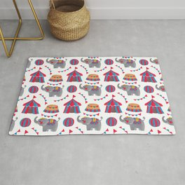 Colorful red blue gray watercolor elephant circus pattern Rug