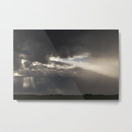 Stormy Sky with Sunbeams and Rain Metal Print
