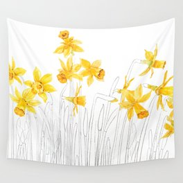 yellow daffodils field watercolor and pencil Wall Tapestry