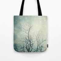 poem Tote Bags featuring Winter Poem  by Laura Ruth