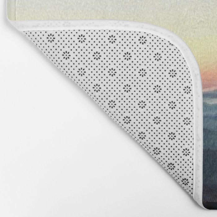 Pastel Sunset over Mountains (Hipster Landscape) Bath Mat