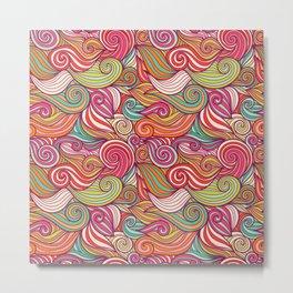 Vivid Whimsical Pastel Retro Wave Print Pattern Metal Print