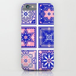 Talavera Mexican Tile – Pink & Periwinkle Palette iPhone Case