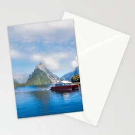 A Boat Cruise at Milford Sound, New Zealand Stationery Cards