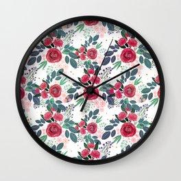 Cute Rose Pink Peonies Watercolor Paint Gold Dots Design Wall Clock