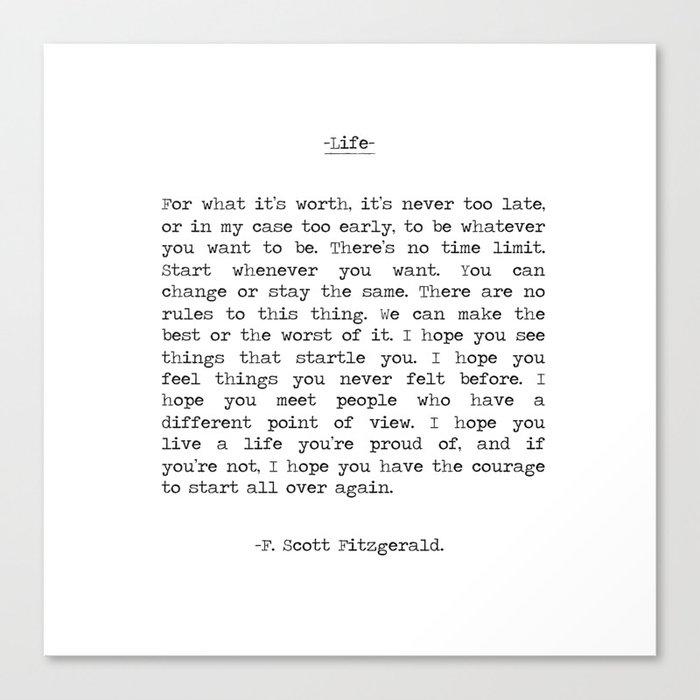 Life quote F. Scott Fitzgerald Leinwanddruck