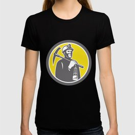 Coal Miner Hardhat With Pick Axe Lamp Front Circle T-shirt