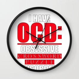 Puzzler Gift OCD Obsessive Crossword Puzzle Disorder Puzzle Lover Wall Clock