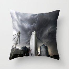 Skyscraper - Storm Over Grain Elevator in Kansas Town Throw Pillow