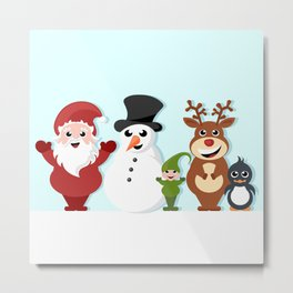 Christmas cartoon characters - Santa Claus, snowman, reindeer, elf and penguin Metal Print