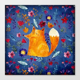 The Smart Fox in Flower Garden Canvas Print